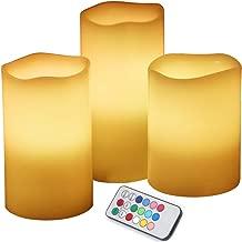 MANLI 无焰蜡烛电池供电蜡烛 10.16cm 12.7cm 15.24cm 一套象牙色真蜡柱 LED 蜡烛适用于聚会、家居、公众优雅事件,12 键遥控,带计时器