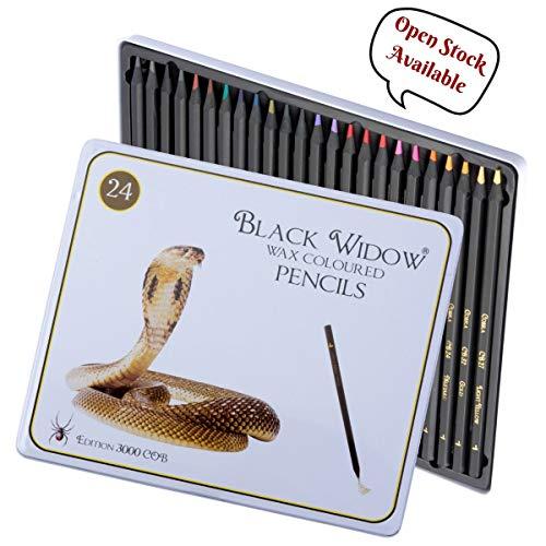 Black Widow Collection - Juego de 24 lápices de calidad en madera blackwood para adultos, el mejor juego de lápices de colores para adultos para colorear  librosEdición Cobra.