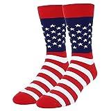 HAPPYPOP Men's American Flag Sock Funny USA Flag Patriotic Sock Citizenship Gift