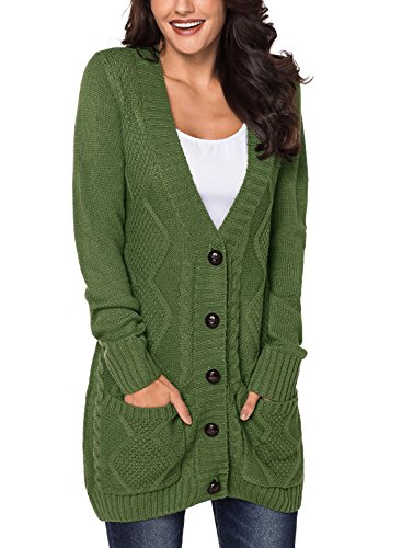 Dokotoo Womens Winter Cable Cardigans Long Sleeve Open Front Knitted Sweaters Oversized Chunky Coat with Pockets Green Size 16 18 steampunk buy now online