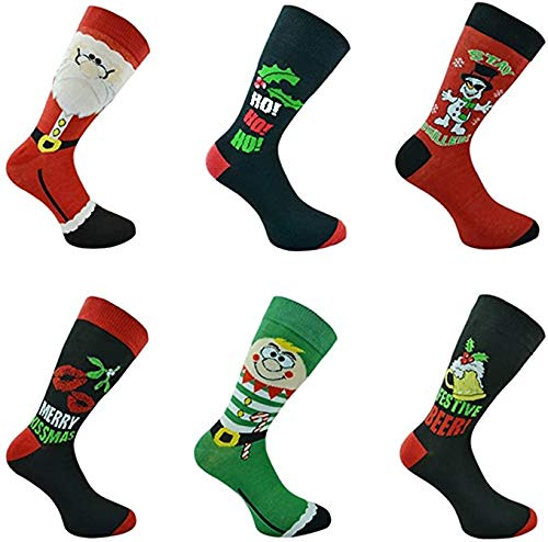 Gimbles® 6 Pairs of Mens Festive Christmas Socks Santa...