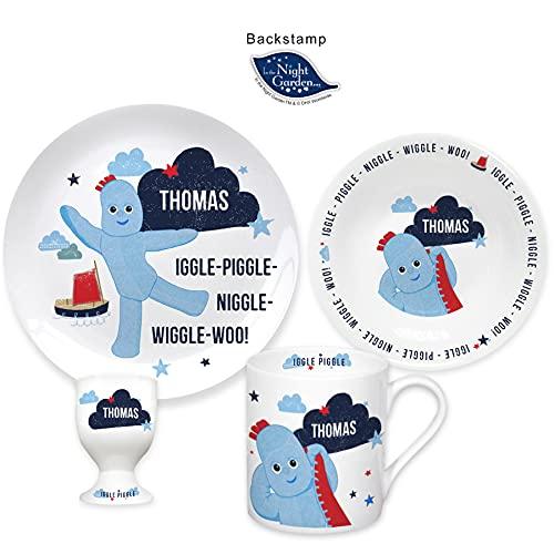 Juego de desayuno/comida totalmente personalizado - Decoración personalizada de porcelana fina (Igglepiggle 4 piezas)