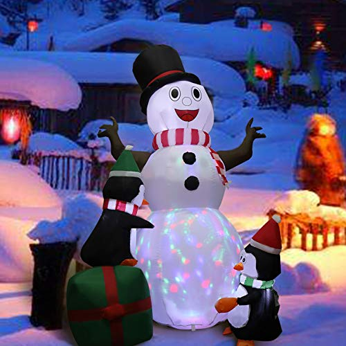 MorTime 6 FT Christmas Inflatable Snowman with Three Penguins, Blow up Lighted Smiling Cute Xmas Yard Decor with Colorful LED Lights for Christmas Outdoor Party Shopping Mall Decorations