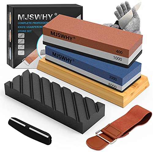 Knife Sharpening Stone, MJSWHY Whetstone Set with 4 Side Grits 400/1000 3000/8000, Kitchen Knife Sharpener with Non-Slip Bamboo Base, Flatting Stone, Leather Strop, Angle Guide,Cut Resistant Gloves