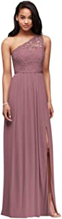Long One Shoulder Lace Bridesmaid Dress Style F17063
