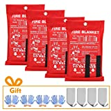 Fire Blankets for Home XL Size 47 in x 47 in Emergency Fiberglass Blanket Upgraded Fire Suppression Cloth with 4 Hooks and 4 Pairs of Heat-Resistant Gloves for Kitchen, Camping, Grilling (4-Pack)