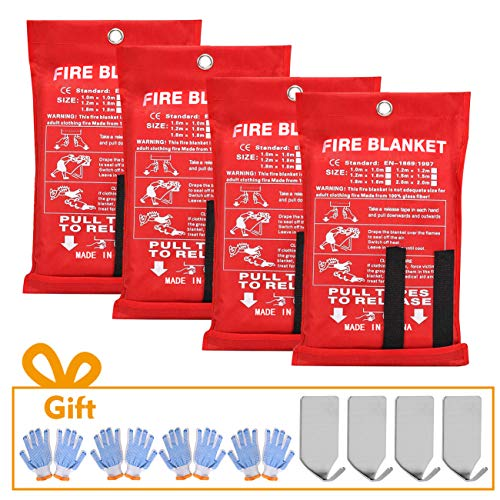 """360Tronics Fire Blankets for Home 47"""" x 47"""" + 4 Hooks & 4 Gloves, Emergency Fiberglass Blanket Upgraded Fire Suppression Cloth for Kitchen, Camping, Grilling"""