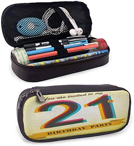 21. Geburtstags-Stift-Kasten-Einladung zu einer fantastischen Geburtstagsfeier auf einem goldenen farbigen Hintergrund-Bild-Kunst-Farbbleistift-Beutel