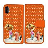 sslink TONE e21 トーンe21 トーンモバイル 手帳型 オレンジ ケース 犬と女の子 レトロ 星 スター ドット ダイアリータイプ 横開き カード収納 フリップ カバー