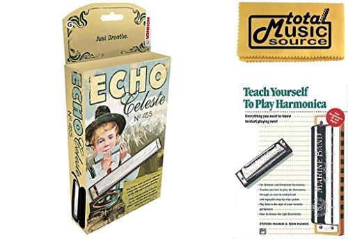 Hohner 455 Echo Celeste Tremolo Tuned Harmonica Key of G, Includes Case & Book