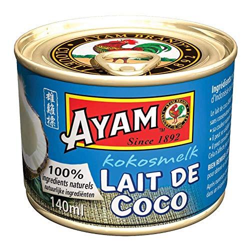 AYAM Lait de Coco | 100% Ingrédients Naturels | Goût Authentique | Haute Qualité | Alimentation Saine | Lait Végétal | Sans Lactose | Sans Gluten | Sans Conservateurs ni additifs - 140ml