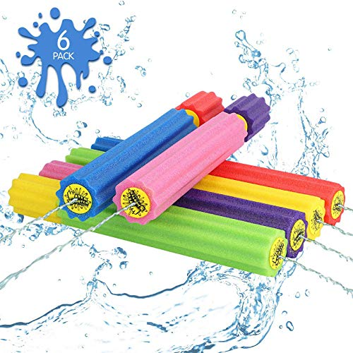 DraMosary Water Blaster Soaker Gun for Kids 6 Pack Safe Foam Noodles Pump Action Outdoor Squirt Gun for Pool/Beach/Yard/Party Play Up to 30 ft 138inches Multicolored