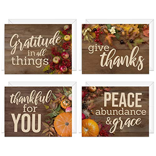 Rustic Thanksgiving Card Assortment / 24 Heartfelt Autumn Note Cards / 6 1/4