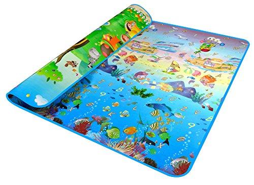 RYC Alfombra Infantil para Jugar Niños y Bebés Doble Caras Impermeable Diseño de Animal y Alfabeto 200X180CM