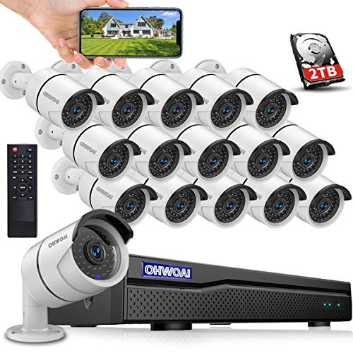 【16CH 5MP DVR】 Wired 16ch Home Security Camera Outdoor System with 2TB Hard Drive,DVR Video Surveillance Security Camera System,Surveillance DVR Kits,16pcs 1080p Security Camera Outdoor Wired,APP