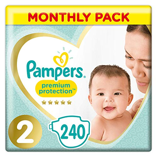 Pampers Premium Protection - Pañales talla 2 (4-8 kg) - Paquete de 1 mes (x240 pañales)