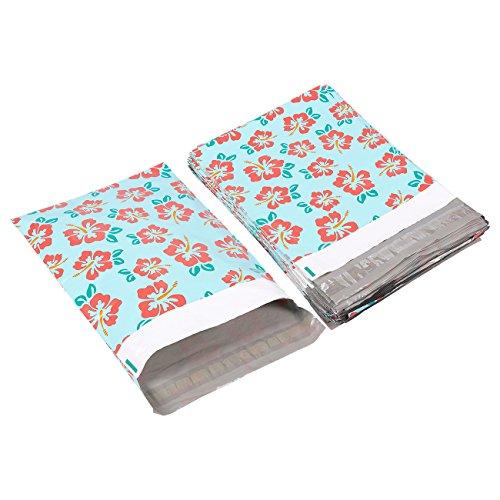 Poly-Versandtaschen von Juvale (100Stück)–Buntes Hibiskusblüten-Design, Selbstklebender Verschluss, Wasserabweisend, Reißfest - Für Bücher, Kleidung, Textilien - Buchhandel, Büro, 25,4 x 33cm