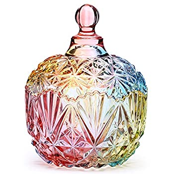 Danmu 1Pc Colorful Glass Storage Jar with Lid Candy Cookie Jar Jewelry Box Buffet Jar Biscuit Containers  750ml / 26oz