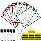 Meetory - 10 fundas de borrado en seco reutilizables de 25,5 x 35 cm, 10 colores, con 10...