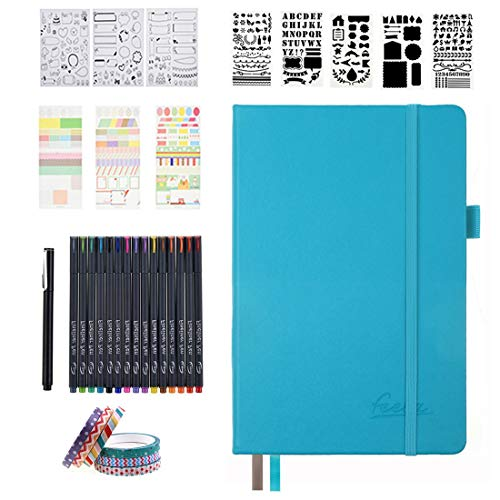 Bullet Dotted Journal Kit, Feela A5 Dotted Bullet Grid Journal Set with 224 Pages Teal Notebook, Fineliner Colored Pens, Stencils, Stickers, Washi Tape, Black Pen for Diary Schedule Planner Draw
