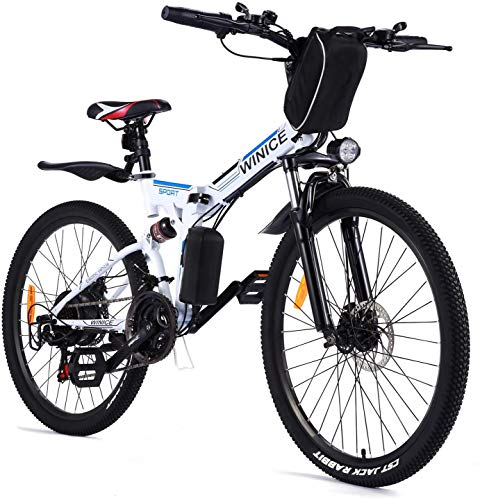 VIVI E-Bike Herren Elektrofahrrad, 26 Zoll Ebike Klapprad 350W Mountainbike Mit Herausnehmbarer 8Ah Batterie, Professionelle 21-Gang-gänge, Vollfederung (Weiß -Style 2)