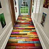 XQKXHZ Läufer Teppiche, Buntes Flickenteppich-Läufer des Patchwork-Hölzernen Korn-Korridor-Treppen-Langen Weichen Rutschfesten Flurs Für Küchen-Hotel-Konferenzzimmer,80x300cm - 2