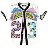HOP FASHION Womens 90s Bel-Air Birthday Party Baseball Jersey Short Sleeve 3D Colorful 23 Print Button Dance Team Uniform Tops Shirts HOPM007-White-XL