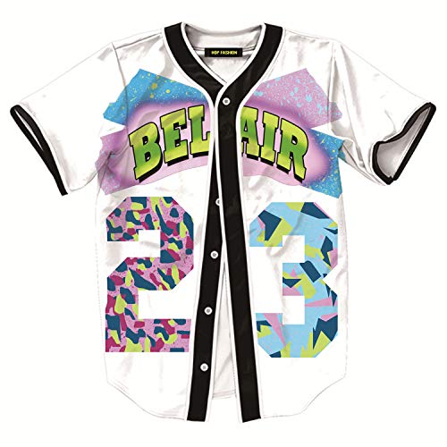 HOP FASHION Womens 90s Bel-Air Birthday Party Baseball Jersey Short Sleeve 3D Colorful 23 Print Button Dance Team Uniform Tops Shirts HOPM007-White-L