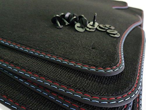 Styling Fußmatten 5er E39 Bj.1995-2004 Original Doppelnaht Velours rot-blau