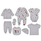 8 Piezas Recién Nacido Conjunto de Trajes de Dormir Ropa, Bebé Mameluco de Manga Larga + Tops + Pantalones + Body + Cardigan + Sombrero + Guantes + Babero Set de Regalo de Ropa para 0-3 Meses