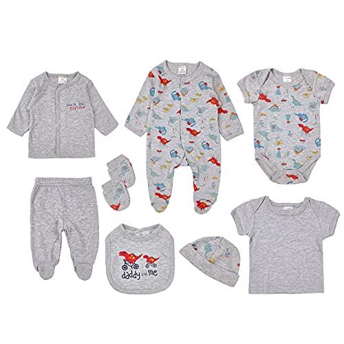 8 Piezas Recién Nacido Conjunto de Trajes de Dormir Ropa, Bebé Mameluco de Manga Larga + Tops + Pantalones + Body + Cardigan + Sombrero + Guantes + Babero Set de Regalo de Ropa para 0-6 Meses