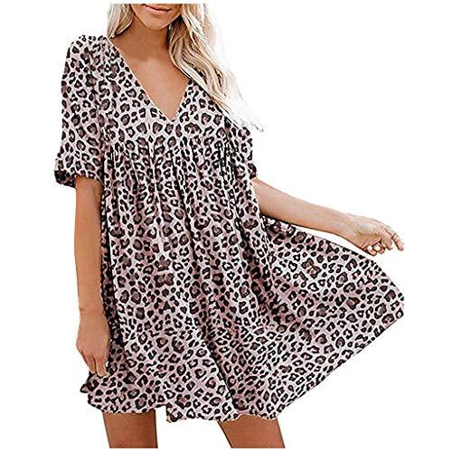 Evansamp Kleider für Damen Damenmode Leopardenmuster Laterne Halbarm V Ausschnitt Drapiert Flowy Swing Etuikleid(Yellow,XL)