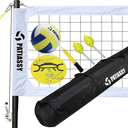 Patiassy Professional Volleyball Set, Includes Portable Outdoor Volleyball Net System with Height Adjustable Aluminum Poles, Winch System, Volleyball and Carrying Bag for Beach, Backyard, White