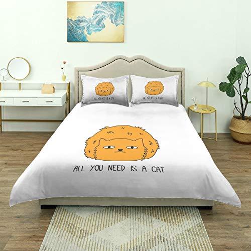 Dodunstyle Bettbezug, Alles, was Sie brauchen, ist Cat Saying Meow Lovers Furry Impression Sketchy Inschrift, Bettwäsche-Set Bequeme leichte Mikrofaser