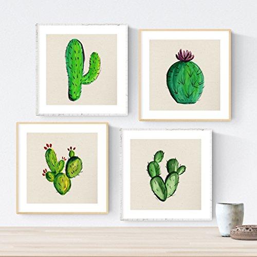 Pack de Cuatro láminas de Cactus. Posters Cuadrados con imágenes Estampadas. Dale un Toque Verde a tu hogar. Láminas de Cactus para enmarcar. Papel 250 Gramos
