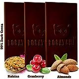 BOGATCHI Premium 99% Dark Chocolate |3in1 (Raisins, Cranberry, Almonds)| Real Cocoa Intense Dark...