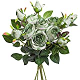 Hawesome Vintage Silk Rose Flowers Artificial Roses with Long Stems 6Pcs Fake Flowers for Home Garden Party Wedding Decoration (Green)