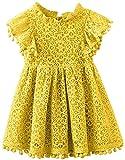 2Bunnies Girl Vintage Lace Pom Pom Trim Birthday Party Dress (Mustard, 4T)