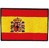 Bandera de ESPAÑA PARCHE BORDADO AUTOADHESIVO, parches termoadhesivos para todo tipo de prendas y artículos textiles, fácil de planchar y colocar, fabricado en España
