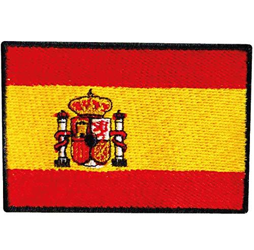 Bandera de ESPAÑA PARCHE BORDADO AUTOADHESIVO  parches termoadhesivos para todo tipo de prendas y artículos textiles  fácil de planchar y colocar  fabricado en España