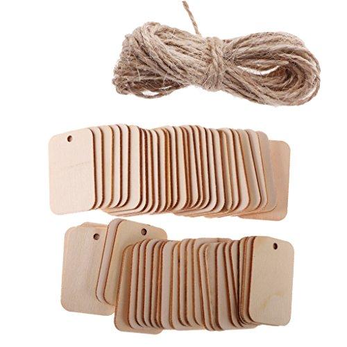 MagiDeal 50 Piezas Madera Rectángulo Craft Forma Etiqueta Adorno para Artesanía con Cuerda
