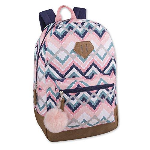 Modischer Rucksack für Mädchen mit verstärktem Vinylboden und Schlüsselanhänger mit Pompoms.