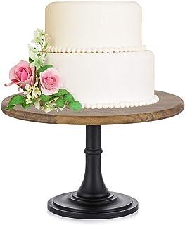 NUPTIO 10 اینچ/25.5 سانتیمتر پایه روستایی از کیک عروسی چوبی گرد ، جشن تولد جشن عروسی دسر کیک پایه/نمایش/صفحه