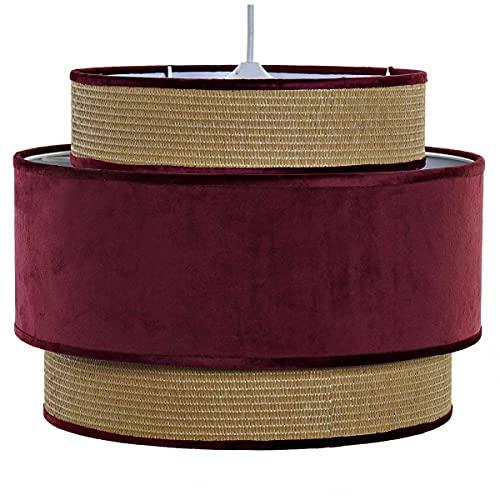 Lámpara de techo de terciopelo rojo granate