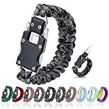 WEREWOLVES Paracord Knife Bracelet/Survival Knife Cord Bracelets, Tactical EDC Paracord Bracelet, Emergency Survival Gear for Hiking Traveling Camping, Paracord Bracelet for Men & Women (Black Gray)