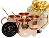 Mule Science Moscow Mule Copper Mugs - Set of 4-100% HANDCRAFTED - Pure Solid Copper Mugs 16 oz Gift...