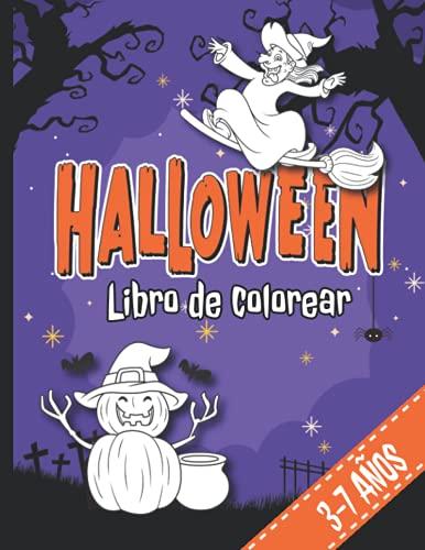 HALLOWEEN LIBRO DE COLOREAR para niños de 3-7 años: 30 faciles y bonitos dibujos de Halloween para colorear   Libro de dibujos   Calabaza, bruja, ... de Halloween para niños a partir de 3 años