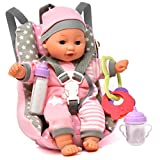 Baby Doll Car Seat with Toy Accessories, Includes 12 Inch Soft Body Doll, Booster Seat Carrier, Rattle Toy, Bib and 2 Bottles, A Travel Gift Set for Toddlers Infants Girls and Boys