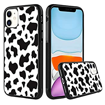 KANGHAR iPhone 11 Tire Cow Black White Slim Anti-Scratch Shockproof Skid Outline Durable PC Layer TPU Bumper Anti-Dropping Full Body Protection Cover -6.1 Inch