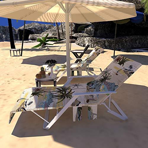 Asciugamano Per Lettino Mare, Portatile Asciugamano Mare, Telo mare per sdraio, lettino da spiaggia con 3 tasche, Asciugatura Veloce – 212x75x0,5cm